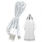 Car Cigarette Power Charging Adapter + USB Sync Data Charging Lightning Cable for iPhone 5 - White