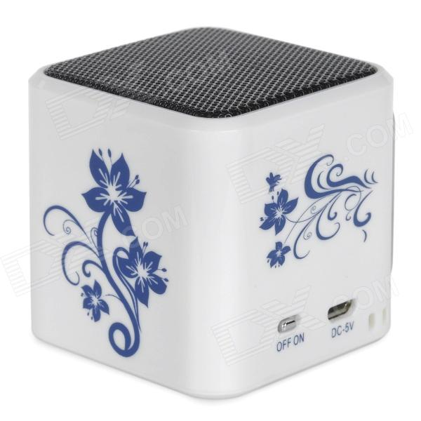 TT-032 Mini Media Player Speaker w/ TF / FM / USB / LED Light - White + Blue mini portable bluetooth v2 0 mp3 player speaker w mini usb fm tf led green transparent