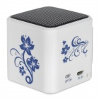 TT-032 Mini Media Player Speaker w/ TF / FM / USB / LED Light - White + Blue