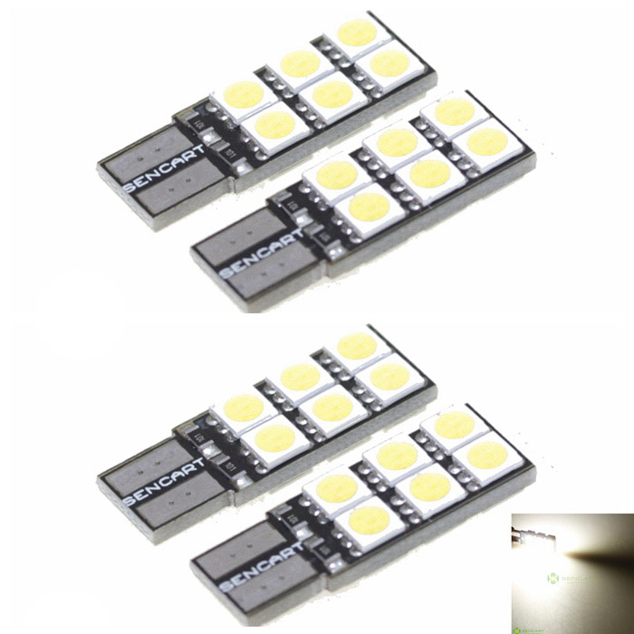 SENCART T10 2.4W 168lm 12-LED White Light Car Signal Lamp (12V / 4 PCS)LED Wedge Bulbs<br>BrandSENCARTModelT10Quantity4 PieceCasing ColorYellow + Black + SilverMaterialPVCEmitter TypeSMD 5050 LEDTotal Emitters12Light ColorWhiteRated Voltage12VPower2.4Luminous Flux144~168Color Temperature6000~6500Connector TypeT10ApplicationDecoration light, Brake light, Backup light, License plate light, Steering light, Clearance lamp, Instrument lamp, Signal light, Indicator lamp, Party Hat, Reading lampOther FeaturesUniversal Connector T10: 194, W5W, T8, T10, T13, T15, 147, 152, 158, 159, 161, 168, 184, 192, 193, 194, 259, 280, 285, 447, 464, 501, 555, 558, 585, 655, 656, 657, 1250, 1251, 1252, 2450, 2652, 2921, 2825, 12256, 12961, 2521, 2525Packing List4 x LED lights<br>