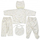 Fashion Pure Cotton Baby Hat + Coat + Bib + Trousers Set - White + Yellow
