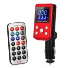 "1.4"" LCD Car MP3 Player FM Transmitter with Remote Controller - Red + Black (12~24V)"