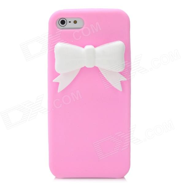Protective Silicone Back Case with Bowknot for Iphone 5 - Pink + White stylish bubble pattern protective silicone abs back case front frame case for iphone 4 4s