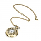 TS-005 Retro Classic Hollowed-Out Quartz Pocket Watch w/ Chain - Antique Brass