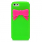 Protective Silicone Back Case with Bowknot for Iphone 5 - Green + Red