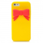 Protective Silicone Back Case with Bowknot for iPhone 5 - Yellow + Red