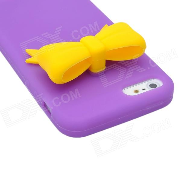 Protective Silicone Back Case with Bowknot for Iphone 5 - Purple + Yellow stylish bubble pattern protective silicone abs back case front frame case for iphone 4 4s