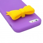 Protective Silicone Back Case with Bowknot for Iphone 5 - Purple + Yellow