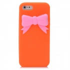 Protective Silicone Back Case with Bowknot for Iphone 5 - Orange + Pink