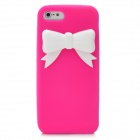 Protective Silicone Back Case with Bowknot for Iphone 5 - Deep Pink + White