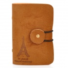 YSDX-579 Iron Tower Pattern Protective PVC + PU Leather Card Bag w/ Clasp - Brown