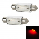 Festoon 39mm 3W 50lm 1-SMD LED Red Light Car Reading Lamp (12V / 2 PCS)