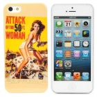 Sexy Woman Pattern Protective PC Back Case for iPhone 5 - Yellow + Red + White