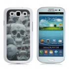 Naked Eye 3D Skull Style Protective Plastic Back Case for Samsung Galaxy S3 i9300 - White + Grey