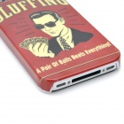 Protective Cool Man Pattern PC Back Case for Iphone 4 / 4S - Red + Black + Off White