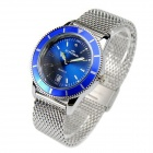 ST.PATRICK FI-152A Stainless Steel Quartz Analog Waterproof Wrist Watch w/ Calendar - Silver + Blue