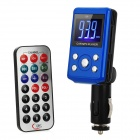 "1.4"" LCD Car MP3 Player FM Transmitter with Remote Controller - Blue + Black (12~24V)"