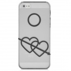 Protective Arrow of Love Heart zurück Fall w / Screen Protector für iPhone 5 - Transparent Schwarz