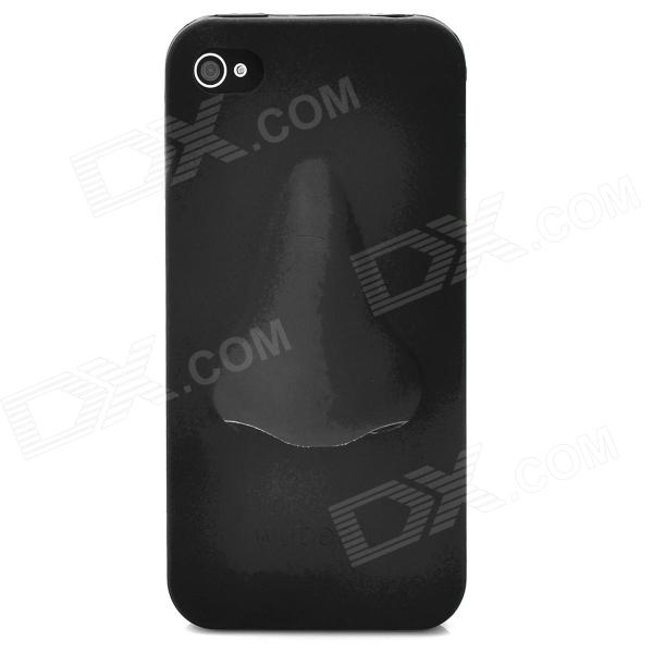 Protective 3D Nose Style Silicone Cover Case for Iphone 4 / 4S - Black