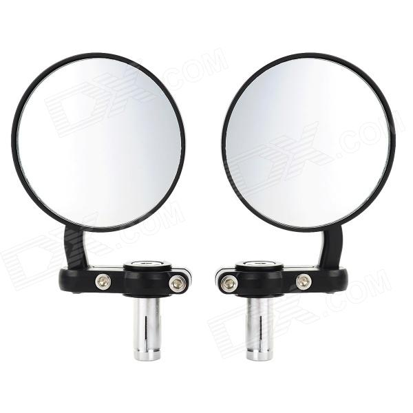 Universal Round Shape Aluminum Motorcycle Rearview Mirror - Black (Pair)