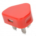 Mini 650mA USB Power Adapter / Charger - Bright Red (100~240V / UK Plug)