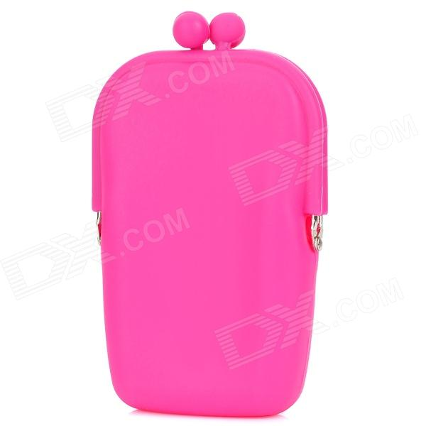 Stylish Kiss Style Twist Clasp Silicone Coin Purse - Magenta (M-Size) girl women stylish cute silicone coin purse wallet