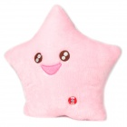 Smiling Star Style Plush + Cotton Colorful Flash Light Cushion - Pink (3 x AA)