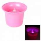 White Wine Glass Style LED Colorful Light Candle Lamp w/ On-Off Switch- Pink (3 x AG13)