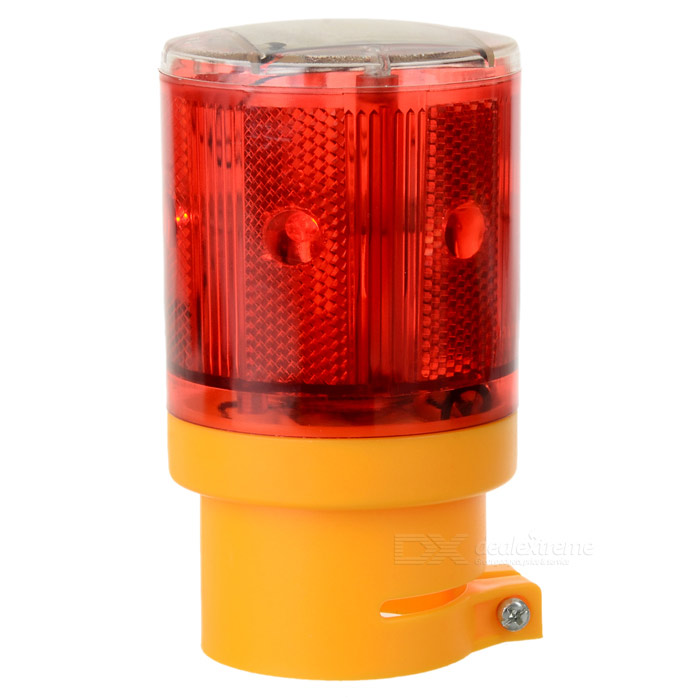 Waterproof Solar Powered 0.36W 20lm 6-LED Red Light Traffic Warning / Signal Lamp