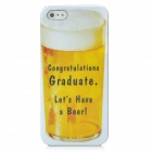 Protective Beer Pattern PC Back Case for Iphone 5 - Yellow + White