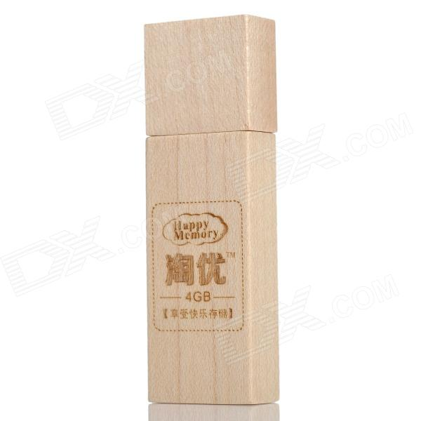 Happy Memory M-01 Stylish Wooden USB 2.0 Flash Drive - Ivory (4GB)