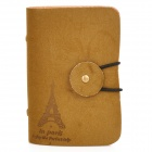 YSDX-578 Iron Tower Pattern Protective PVC + PU Leather Card Bag w/ Clasp - Coffee
