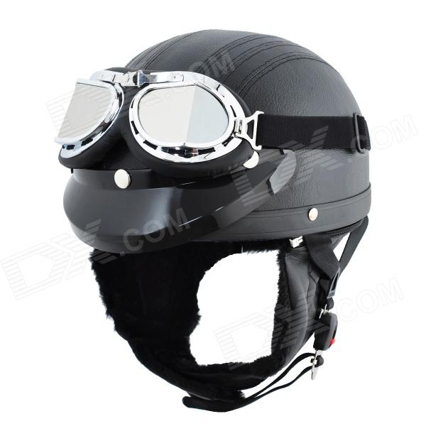 Cool Motorcycle Outdoor Sports Racing Half Helmet - Black motorcycle chrome front spoiler chin fairing for harley sportster xl883 1200 04 15 new