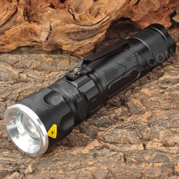 Sipik SK96 800lm 3-Mode White Light Zooming Flashlight - Black (1 x 18650 / 3 x AAA)