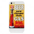 Protective Beer Cheaper Gas PC Back Case for Iphone 5 - Red + Yellow + White