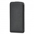 Protective Leechee Pattern PU Leather + ABS Top Flip Open Cover Case for iPhone 5 - Black