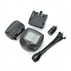 "1.5"" Screen Display Wireless Waterproof PVC Bicycle Computer w/ Transmitter - Black (1 x CR2032)"