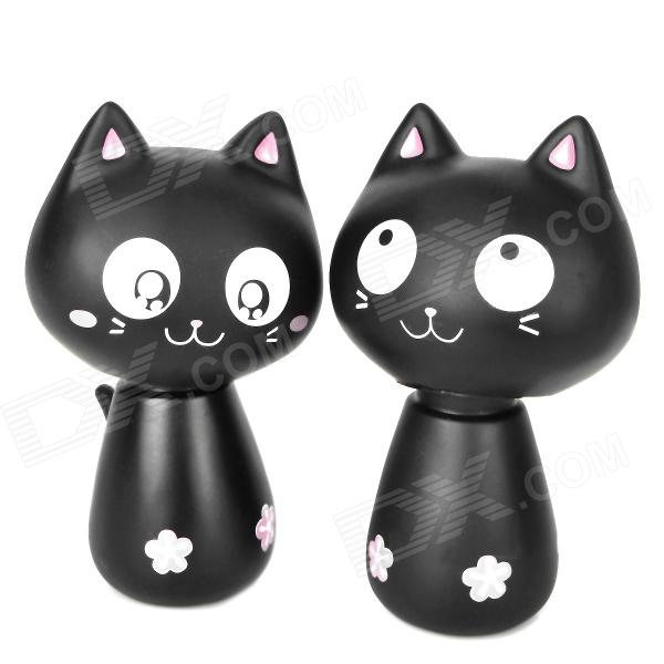 Cute Nodding Head Vinyl Cat Set - Black (2 PCS) от DX.com INT