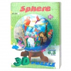 DIY Globe Shape Education Plastic + KT Board Puzzle Toy - Blue + Brown + White