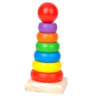 Baby Intelligence Wooden + Acrylic Paint Rainbow Tower Toy - Multicolored