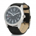 Military Style Casual Man's Genuine Leather Band Matte Quartz Analog Waterproof Wrist Watch - Black