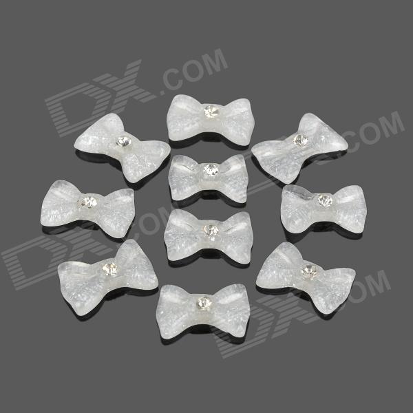 W008 Decorative Bow Shaped Accessories Kit - White (10 PCS)