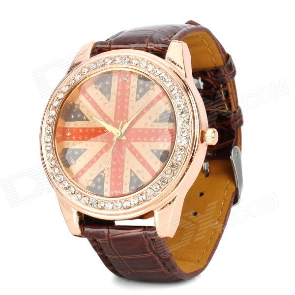 British National Flag Pattern PU Band Quartz Analog Waterproof Wrist Watch - Red + Brown (1 x 377)