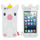 Cute Cartoon Pig Stil Protective Silicone Case für iPhone 5 - White