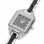 Kimio K476L Square Woman's Stainless Steel Quartz Analog Wrist Watch - Black + Silver (1 x LR66)