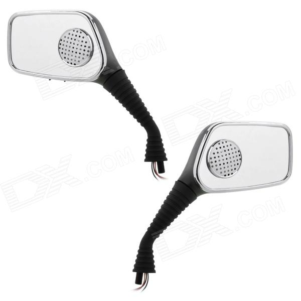 YQS NST-JC802 Motorcycle Rearview Mirror MP3 Player Speaker with SD Slot - Black (DC 12V / Pair)