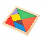 WT704 Wooden Intelligence Puzzle Tangram Toy Set - Multicolored