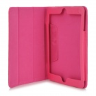 Lychee Pattern Protective PU Leather Case for Ipad MINI - Deep Pink
