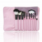 Finding Color FC10001 Tartan Pattern Case 10-in-1 Cosmetic Makeup Brushes Set - Pink + Black