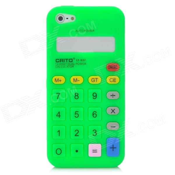 Cool Calculator Style Protective Silicone Back Case for Iphone 5 - Green cool skull head style protective soft silicone back case for iphone 4 4s pink